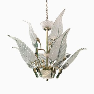 Hollywood Regency Murano Glass & Brass Palm Leaf Chandelier, 1980s