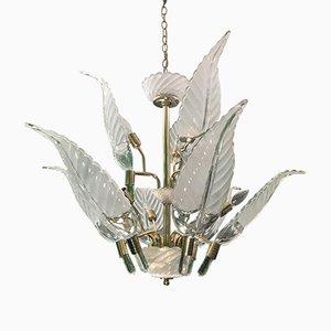 Lámpara de araña Hollywood Regency en forma de hoja de palmera de vidrio y latón, años 80