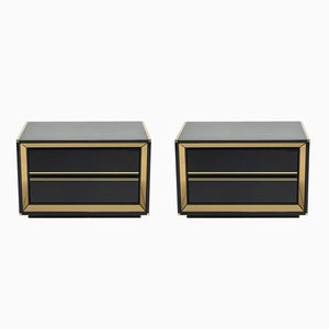 Mirrored Brass & Black Lacquer Nightstands by Sandro Petti, 1970s, Set of 2