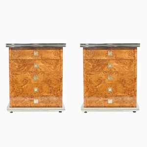 Chrome and Brass Commodes by Willy Rizzo, 1970s, Set of 2