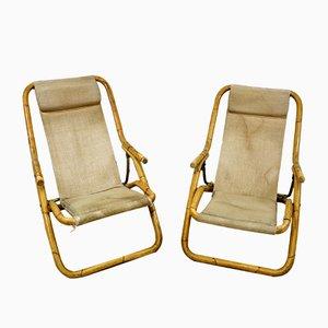 Mid-Century Italian Bamboo Deckchairs, 1960s, Set of 2