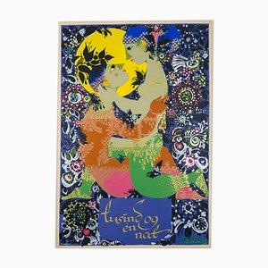 Serigrafía Thousand and One Nights de Bjørn Wiinblad para T. T. Serigrafi, años 70