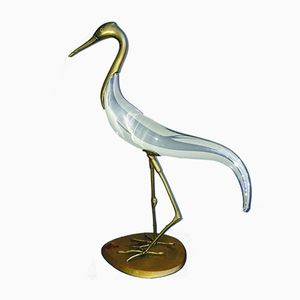 Murano Glass Heron Sculpture by Luca Bojola for Licio Zanetti, 1970s