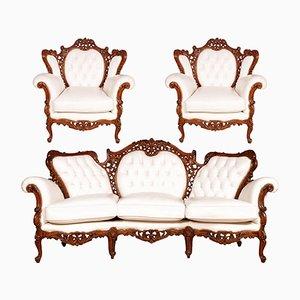 Venetian Rococo Sofa & 2 Armchairs, 1940s