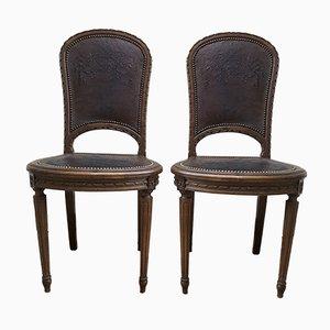 Antike Louis XVI Stühle aus geschnitztem Holz & Leder, 2er Set