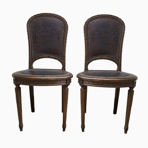 Antique Louis XVI Carved Wood and Leather Chairs, Set of 2