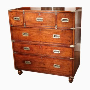 Antique Campaign Chest of Drawers with Secretaire, 1840s