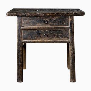 Antiker schwarz lackierter chinesischer Tisch aus Ulmenholz