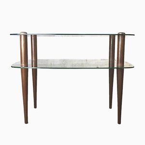 Mid-Century 2-Tiered Teak & Glass Side Table by Gilbert Rohde, 1940s