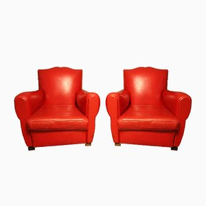 Art Deco French Red Leather Mustache Back Club Chairs, 1930s, Set of 2