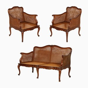 19th Century French Louis XV Sofa & 2 Armchairs