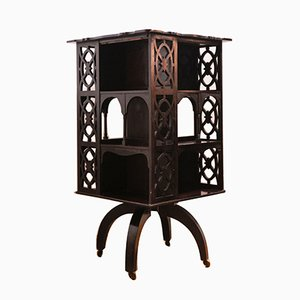 Drehbares viktorianisches Bücherregal aus Mahagoni auf Rollen