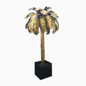 Large Hollywood Regency Brass Palm Tree Floor Lamp, 1970s