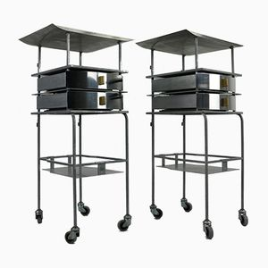 Mid-Century Industrial Stainless Steel Trolleys, Set of 2