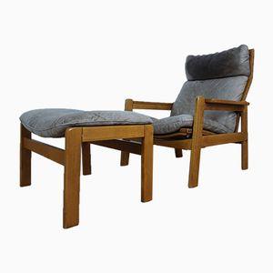 Scandinavian Leather Lounge Chair & Ottoman, 1970s