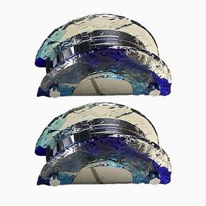 Aplique vintage de cristal de Murano de Carlo Nason para Mazzega, años 70. Juego de 2