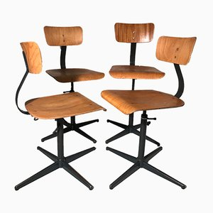 Wooden Swivel Chairs by Echart for Stahlrohr, 1950s, Set of 4