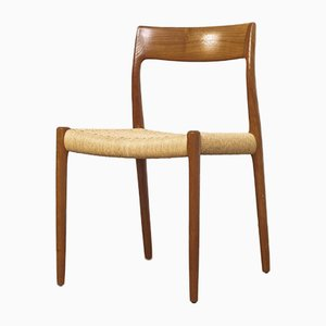Mid-Century Danish Model 77 Teak & Cord Dining Chair by Niels O. Møller