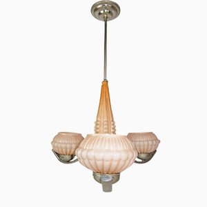 Lampe Antique en Verre Opalin Rose
