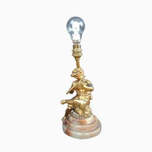 Lampada Art Nouveau con figurina in bronzo