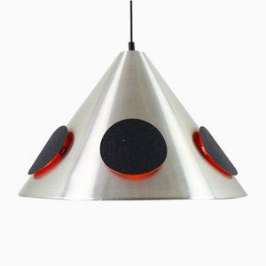 Lampada vintage con dischi neri luminosi, anni '60
