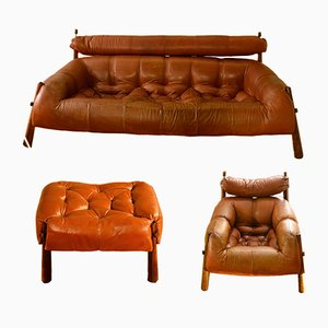 Sofa, Lounge Chairs & Ottoman Set by Percival Lafer, 1970s
