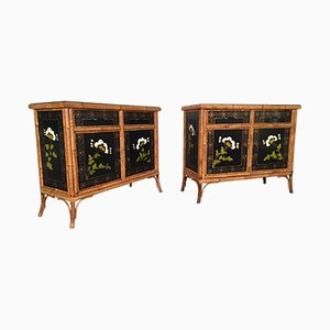 Chinoiserie Painted Bamboo Cabinets, 1950s, Set of 2
