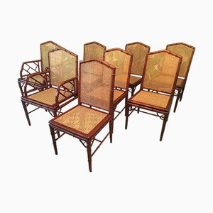Sedie da pranzo in canna e simil bambù di Designs Ligna, anni '80, set di 8