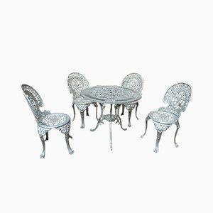 Juego de mesa de jardín y cuatro sillas de aluminio, años 70
