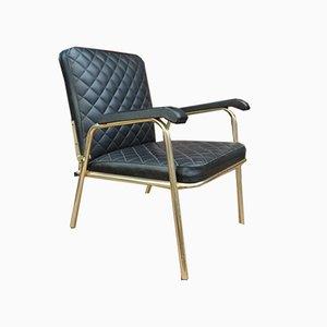 Black Leatherette Armchair, 1970s