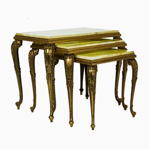 Italian Neo-Classical Style Marble & Brass Nesting Tables, 1950s