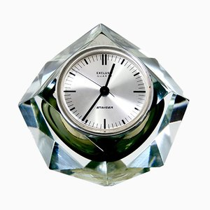 Austrian Cut Glass Crystal Table Clock from F Kisslinger Rattenberg, 1980s