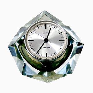 Horloge de Table en Verre de Cristal Taillé de F Kisslinger Rattenberg, Autriche, 1980s