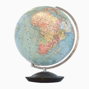 Beleuchteter Mid-Century Globus aus Glas von Columbus Verlag Paul Oestergaard K.G.