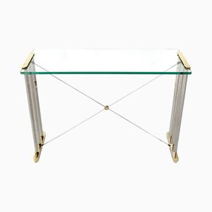 Brass and Nickel Pioneer Console Glass Table by Peter Ghyczy