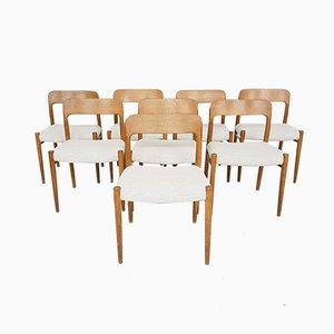 Sedie da pranzo nr. 75 in quercia di Niels O. Møller per J.L. Møllers, anni '60, set di 8