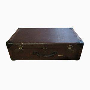 Mid-Century Brown Canvas Suitcase