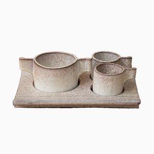 Kaffeeservice aus Sandstein von Alessio Tasca für Le Nove, 1970er