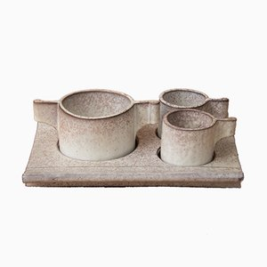 Sandstone Coffee Service Set by Alessio Tasca for Le Nove, 1970s