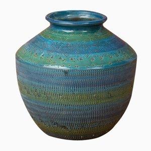 Vase Rimini Blu par Aldo Londi pour Bitossi, 1970s