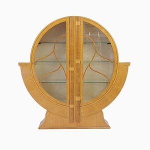 Circular Art Deco Golden Oak Display Cabinet, 1930s