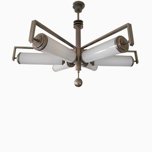 Lampadario Bauhaus vintage in metallo cromato e vetro