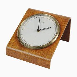 Horloge de Bureau Mid-Century en Bois Courbé de Kienzle