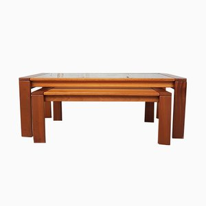 Table Basse en Verre et Table d'Appoint Emboîtable Mid-Century, 1970s, Set de 2