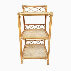 Wicker & Rattan Side Table, 1970s