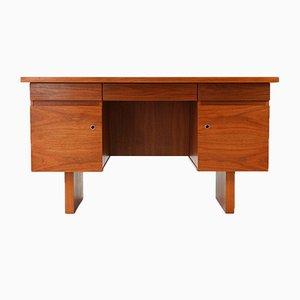 Mid-Century Schreibtisch aus Nussholz mit würfelförmigen Schubladen, 1960er