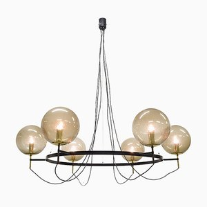 Large Mid-Century Brass and Glass Chandelier from Limburg Glashütte, 1960s