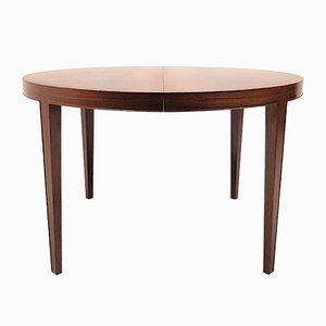 Rosewood Circular Dining Table with 3 Extensions by Severin Hansen for Haslev Møbelsnedkeri, 1960s
