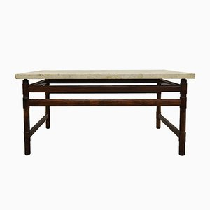 Table Basse Mid-Century en Palissandre Massif et Travertin, 1960s