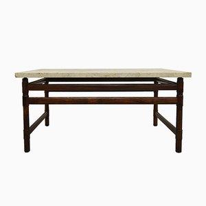 Tavolino da caffè Mid-Century in palissandro massiccio e travertino, anni '60
